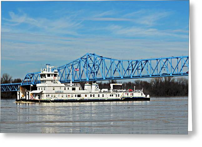 Owensboro Greeting Cards - Glover Cary Bridge Barge Greeting Card by Ally  White