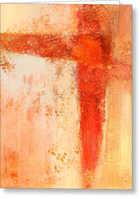 Dribble Greeting Cards - Glow 1 Abstract Painting Greeting Card by Nancy Merkle