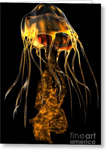 Glow Gold Jellyfish Greeting Card by Corey Ford
