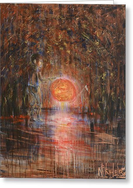 Glow In The Dark Greeting Card by Nik Helbig