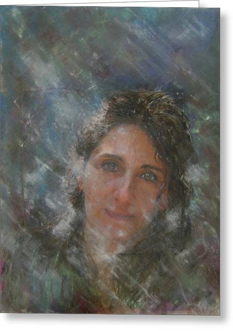 Self Portrait Pastels Greeting Cards - Glow Greeting Card by Sigalit Aharoni
