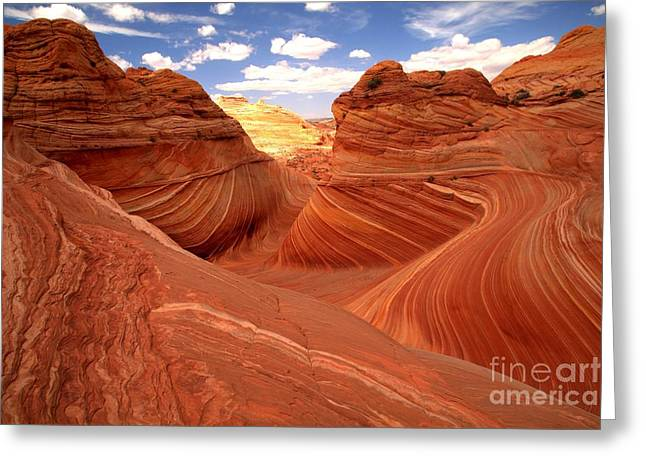 The Plateaus Greeting Cards - Glowing Butte At The Wave Greeting Card by Adam Jewell