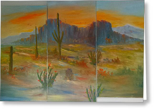 No Frame Needed Paintings Greeting Cards - Glowing Desert #1 Greeting Card by Bryan Benson