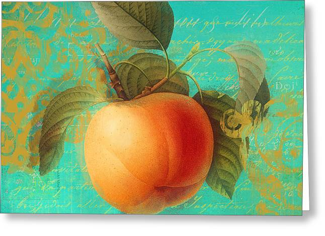 Apricots Paintings Greeting Cards - Glowing Fruits Apricot Greeting Card by Mindy Sommers