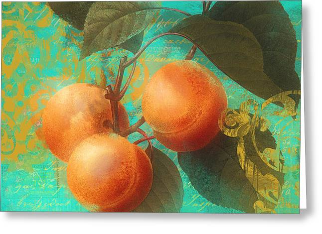 Apricots Paintings Greeting Cards - Glowing Fruits Apricots Greeting Card by Mindy Sommers