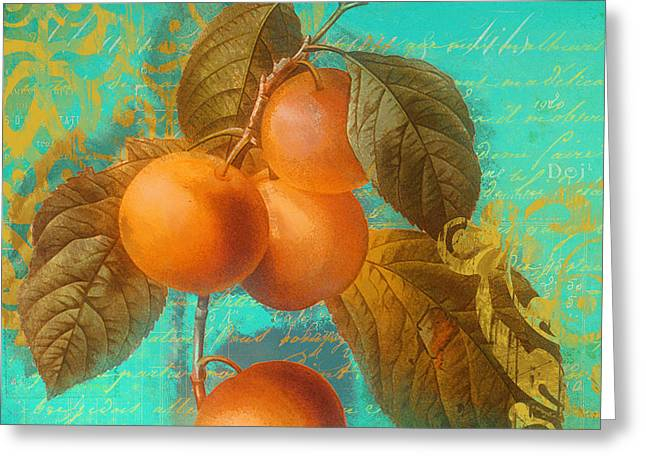 Apricots Paintings Greeting Cards - Glowing Fruits Peaches Greeting Card by Mindy Sommers