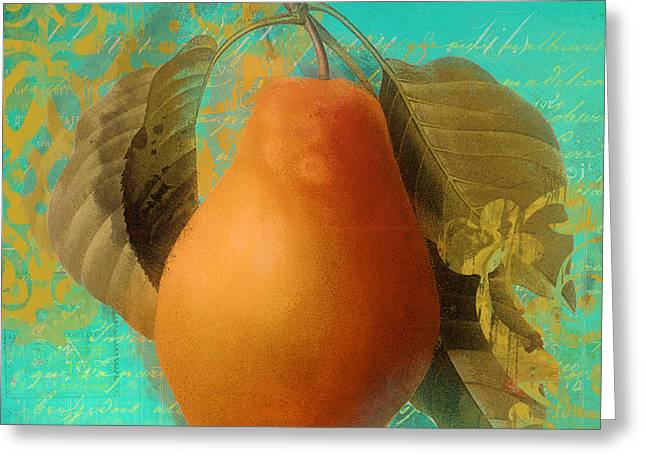 Apricots Paintings Greeting Cards - Glowing Fruits Pear Greeting Card by Mindy Sommers