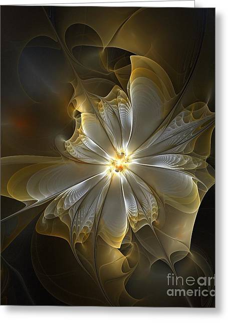 Apophysis Digital Art Greeting Cards - Glowing in Silver and Gold Greeting Card by Amanda Moore