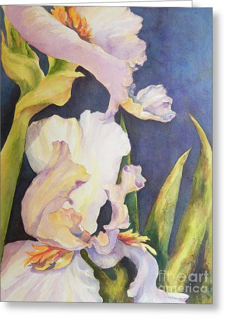 Impressionist Greeting Cards - Glowing Iris Greeting Card by Sharon Nelson-Bianco