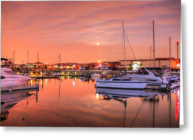 Moon Rise Greeting Cards - Glowing Greeting Card by JC Findley