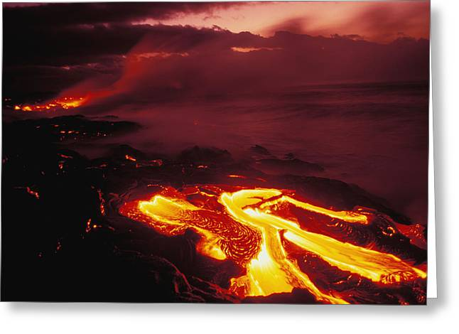 Lava Flow Greeting Cards - Glowing Lava Flow Greeting Card by Peter French - Printscapes