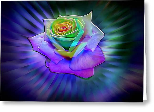 Floral Digital Art Digital Art Greeting Cards - Glowing Neon Rose Greeting Card by Lilia D