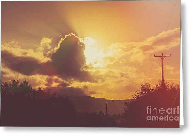 Colorful Cloud Formations Greeting Cards - Glowing orange hilltop view of an afternoon sunset Greeting Card by Ryan Jorgensen