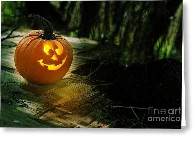 Glowing Pumpkin Greeting Card by Amanda Elwell