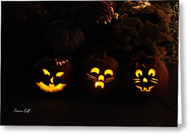 Bugs Bunny Greeting Cards - Glowing Pumpkins Greeting Card by Suzanne Gaff