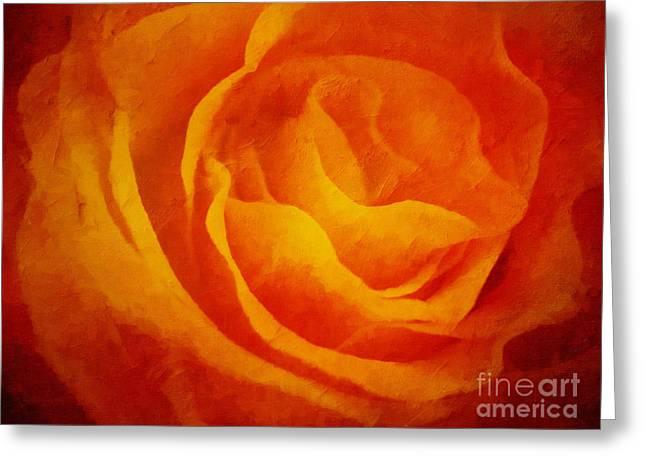 Glowing Greeting Cards - Glowing Rose Greeting Card by Lutz Baar