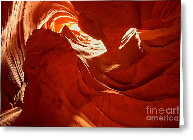 Glowing Sandstone Ledges Greeting Card by Adam Jewell