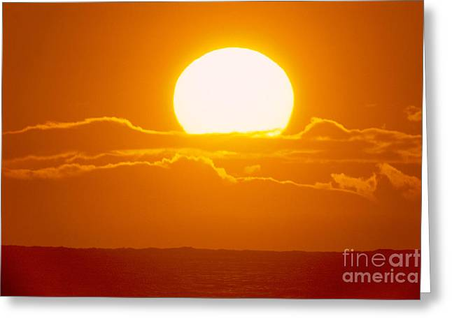Amazing Sunset Greeting Cards - Glowing Sunball Greeting Card by Mary Van de Ven - Printscapes