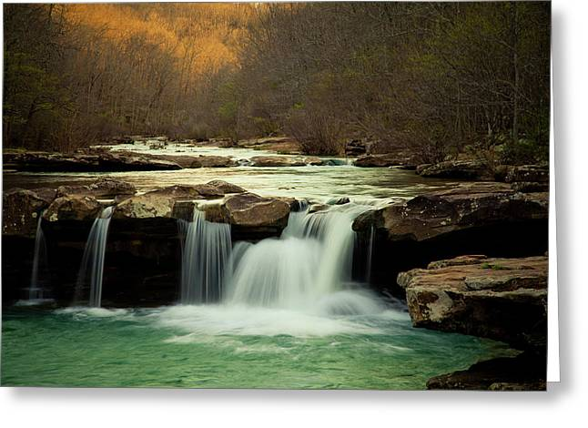 Arkansas Greeting Cards - Glowing Waterfalls Greeting Card by Iris Greenwell