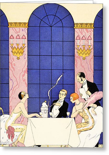 Dining Room Drawings Greeting Cards - Gluttony Greeting Card by Georges Barbier