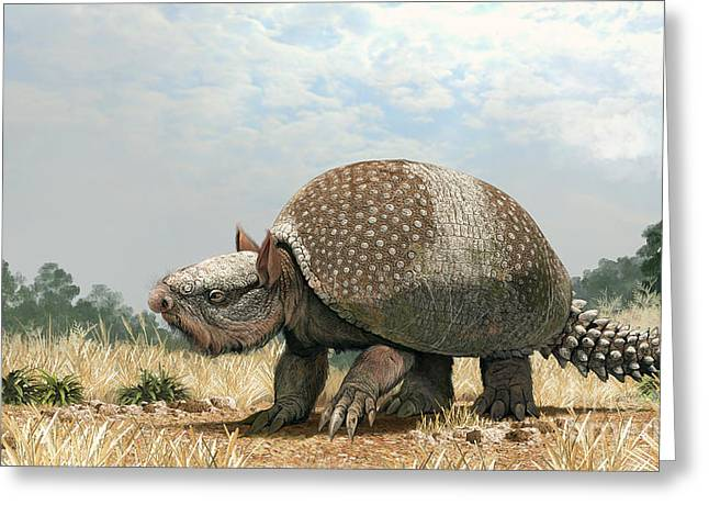 Paleoart Greeting Cards - Glyptotherium Arizonae, A North Greeting Card by Roman Garcia Mora