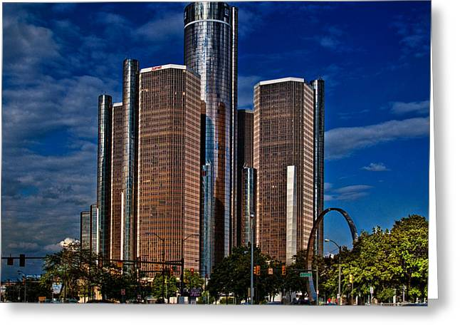 Monolith Greeting Cards - GM and Marriot Monster in Detroit Greeting Card by Chris Lord