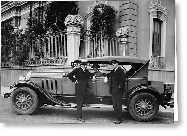Gm Men In Caracas Greeting Card by Underwood Archives