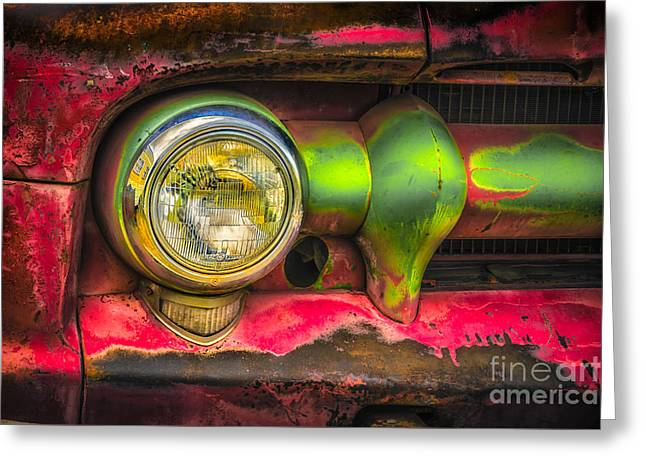 Rusted Cars Greeting Cards - GMC 350 Truck Grill and Headlight Greeting Card by Jerry Fornarotto
