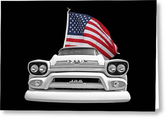 Gmc Pickup With Us Flag Greeting Card by Gill Billington