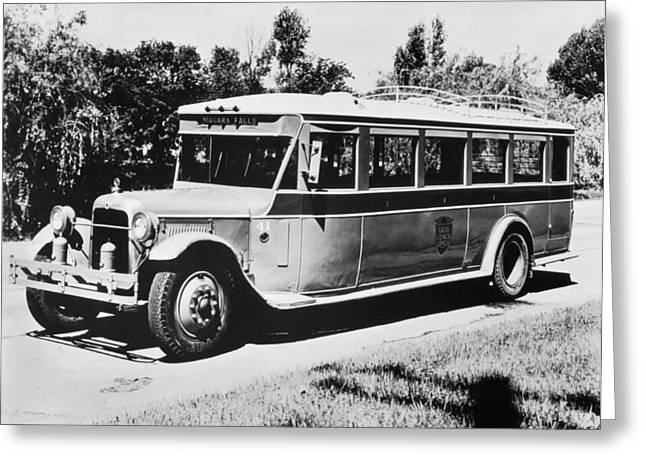 Gm's First Bus Line Greeting Card by Underwood Archives