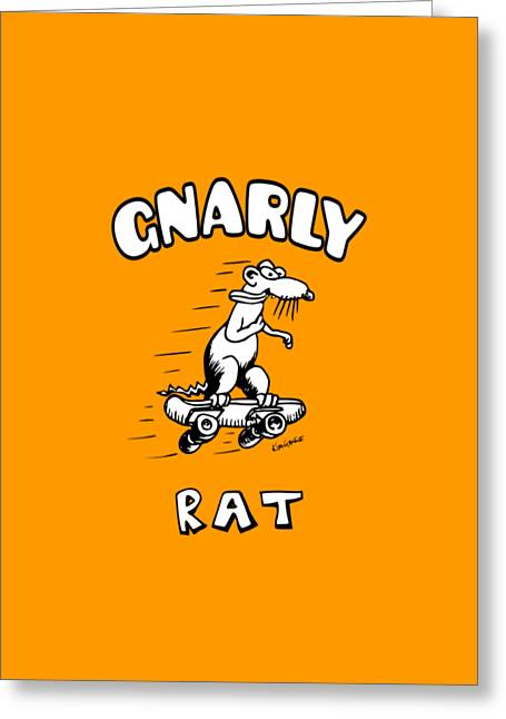 Gnarly Drawings Greeting Cards - Gnarly Rat Greeting Card by Kim Gauge