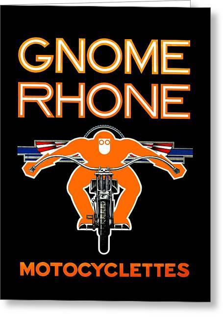 Gnomes Greeting Cards - Gnome Rhone Motorcycles Greeting Card by Mark Rogan