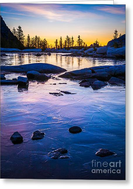 Larch Greeting Cards - Gnome Tarn Ice Greeting Card by Inge Johnsson