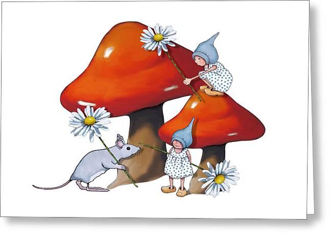 Toadstools Mixed Media Greeting Cards - Gnomes and Toadstools Greeting Card by Joyce Geleynse
