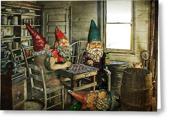 Fine Bottle Greeting Cards - Gnomes Playing Checkers Greeting Card by Randall Nyhof