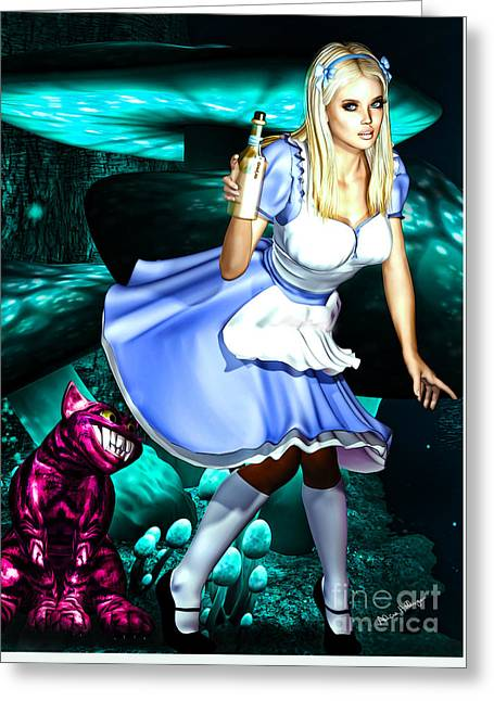 Majenta Greeting Cards - Go Ask Alice Greeting Card by Alicia Hollinger