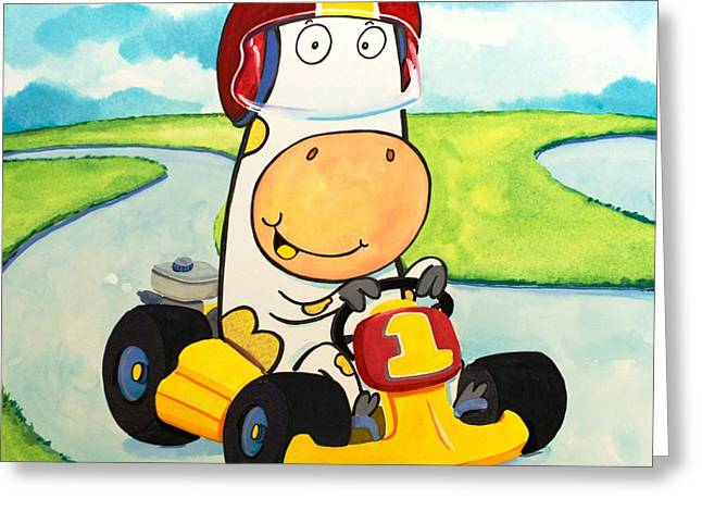 Go Cart Cow Greeting Card by Scott Nelson