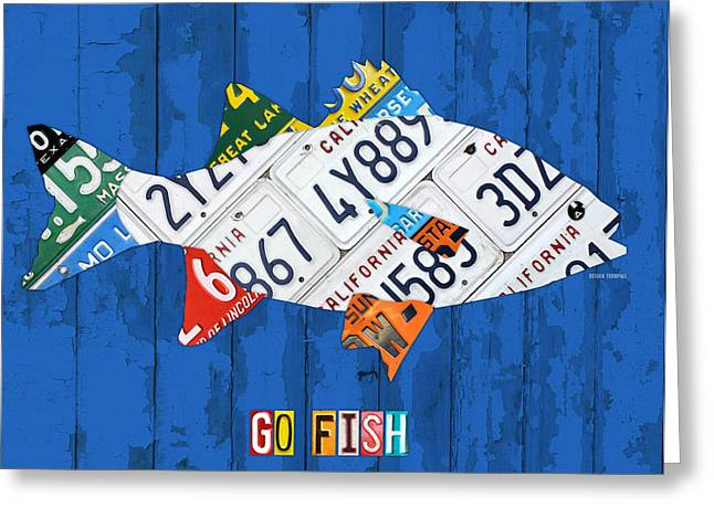 Bass Fish Mixed Media Greeting Cards - Go Fish Freshwater Bass Recycled Vintage License Plate Art Greeting Card by Design Turnpike