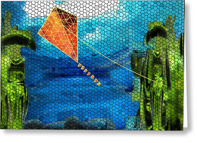Abstract Digital Glass Greeting Cards - Hey Nutcracker Go Fly a Kite Greeting Card by Wendy Rickwalt