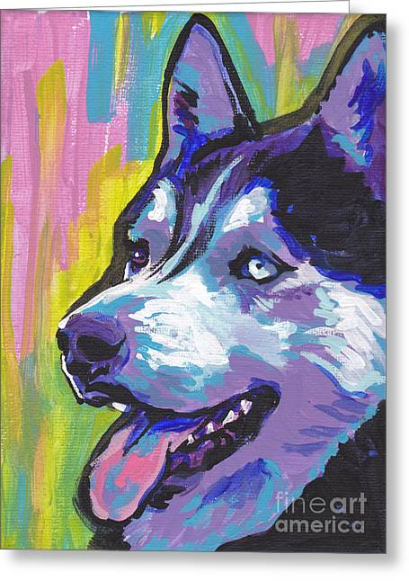 Siberian Husky Dog Art Greeting Cards - Go Husky Greeting Card by Lea