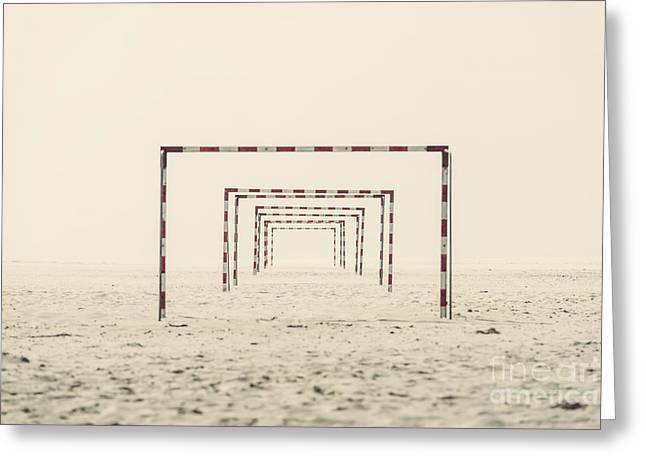 Foggy Beach Greeting Cards - Goal Greeting Card by Pascal Deckarm