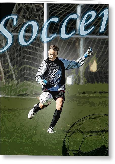 Girls Soccer Art Greeting Cards - Goalie Greeting Card by Kelley King