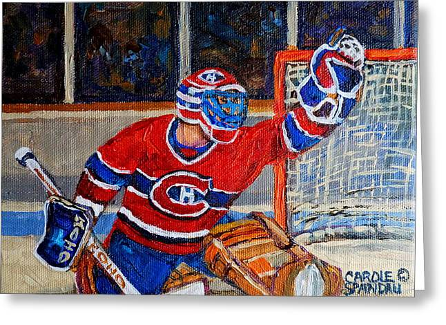 Montreal Winter Scenes Paintings Greeting Cards - Goalie Makes The Save Stanley Cup Playoffs Greeting Card by Carole Spandau