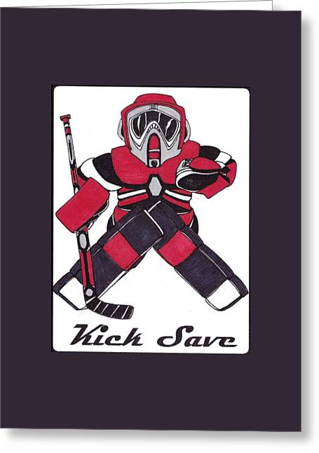Goalie Red Greeting Card by Hockey Goalie