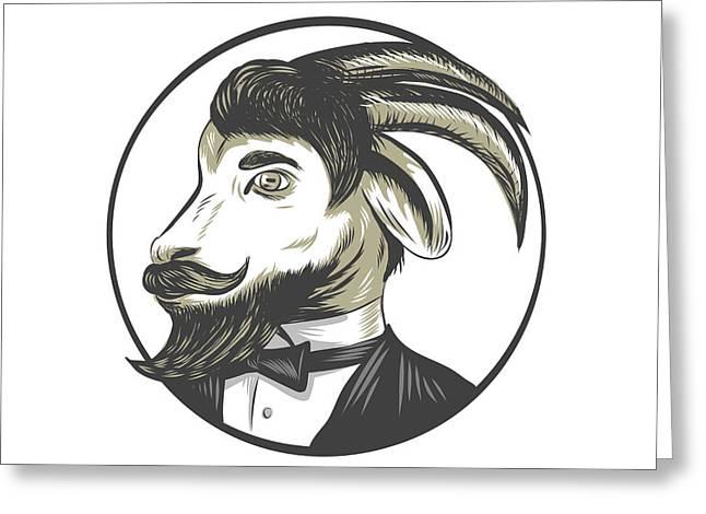Goat Beard Tie Tuxedo Circle Drawing Greeting Card by Aloysius Patrimonio