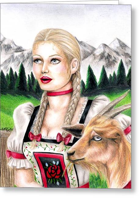 Goat Girl Greeting Card by Scarlett Royal