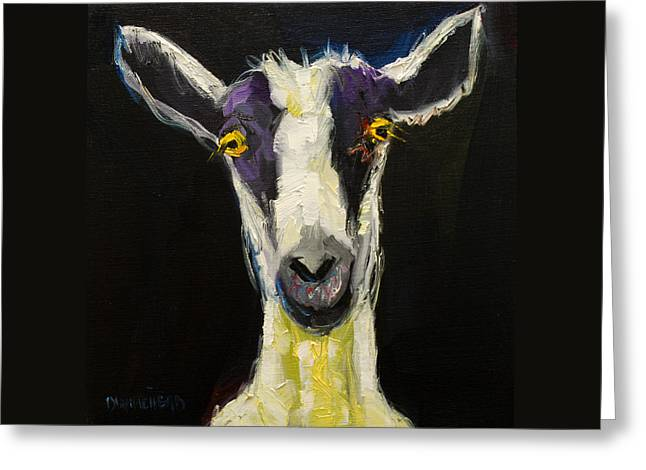 Wall Greeting Cards - Goat Gloat Greeting Card by Diane Whitehead
