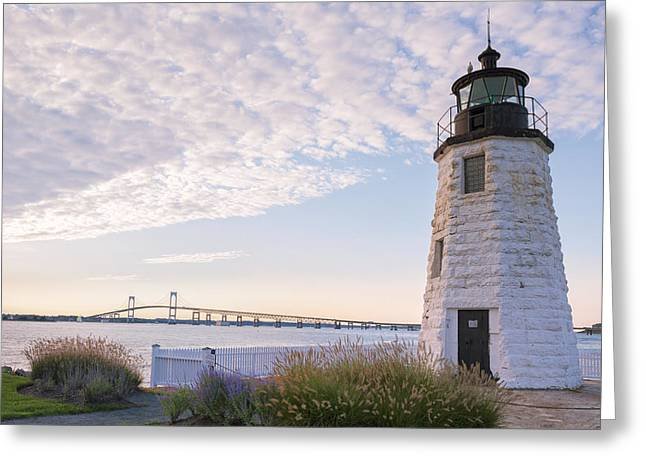 New England Ocean Greeting Cards - Goat Island lighthouse and bridge Greeting Card by Marianne Campolongo