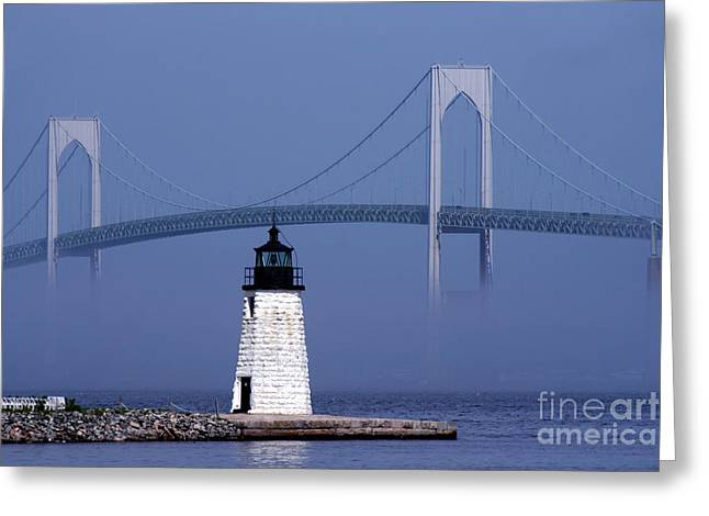 Recently Sold -  - Bay Bridge Greeting Cards - Goat Island Lighthouse Greeting Card by Jim Beckwith
