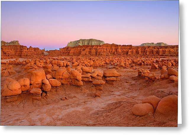Goblin Valley State Park Greeting Cards - Goblin Glow Greeting Card by Mike  Dawson